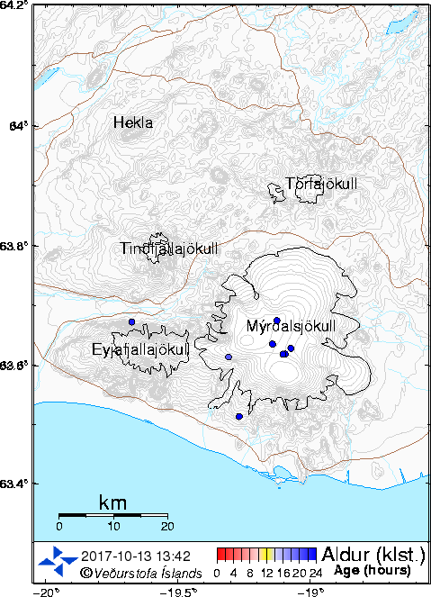 Map of M�rdals- and Eyjafjallaj�kull